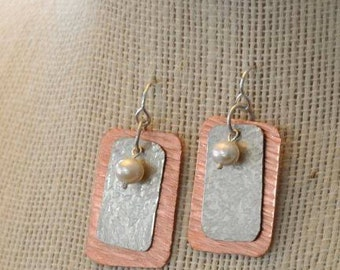 Hammered Silver and Copper Earrings with Pearl