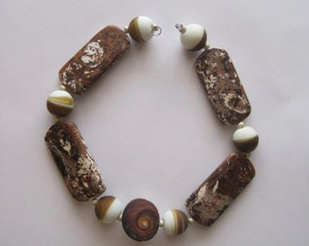 AGATE & GLASS Bead Set- 6 Handmade Lampwork Glass Beads - Inv155I
