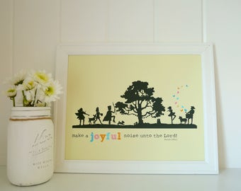 Make A Joyful Noise Unto The Lord - Scripture Art print - Children's Room Decor