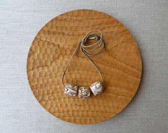 Moon Phase Raku Stoneware Bead Necklace