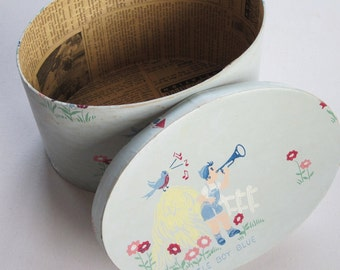 Farmhouse Vintage Wallpqper Band Box, Little Boy Blue Nursery Rhyme Paper