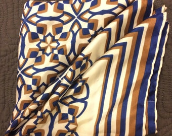 Vintage silk womens scarf accessory blue camel and white. Mid-century modern motif.