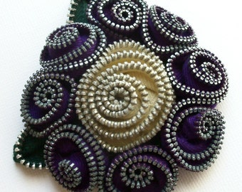 Purple  and Ecru Floral Brooch / Zipper Pin by ZipPinning - 2571