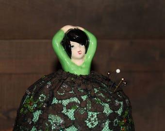 Vintage Ceramic Doll Pincushion. Dancing Girl Pincushion,  Fashion Doll Pincushion. 1940s, Pirouette, Needlework, Sewing Collectible