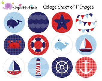 Nautical Digital Collage Sheets - 1 Inch Circle Images - Instant Download - Commercial Use