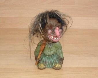 Vintage 70s J. Wackekopf-troll-gnome figure Witch of Heico