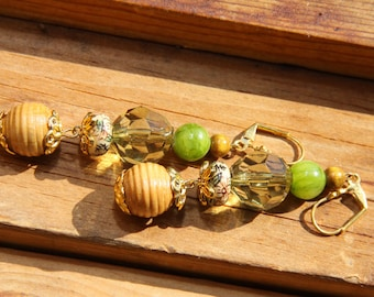 "3"" L Olive color Jade stone, porcelain, wood, acrylic, dangle,  Orient inspired earrings"