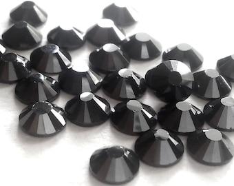 Hot Fix or No Hot Fix SS30 (6mm) Jet Hematite (Pewter) Flat Back Crystal Rhinestones - 50 Pcs., 288 Pcs. or 3600 Pcs.