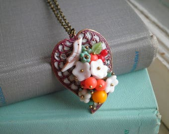 Floral Leaf Necklace - Bohemian Wire Wrapped Czech Glass Flowers Beaded Pendant - Boho Bird Flowers Cherries Collage Necklace Jewelry Gift