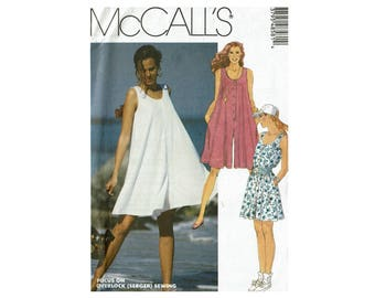 Romper Pattern McCall's 4858 Uncut Sewing Pattern Sizes 6 8 Bust 30 1/2 31 1/2  Culotte Romper 1990s Pattern for Stretch Knits