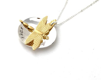 """Message Dragonfly Necklace Stamped with """"Free""""