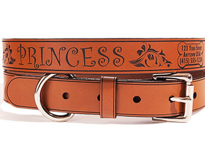 ID Dog Collar Customize Easy, Medium Size, Princess Design, Name & Contact Info Engraved FREE