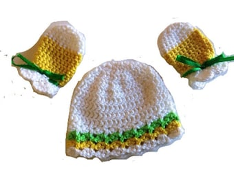 Green, Yellow and white striped crochet baby hat and scratch mittens gift set  for baby girl or baby boy