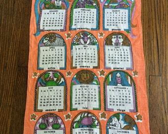 Vintage zodiac cloth calendar // vintage calendar // 1971 calendar // zodiac calendar // zodiac 1971 // vintage find