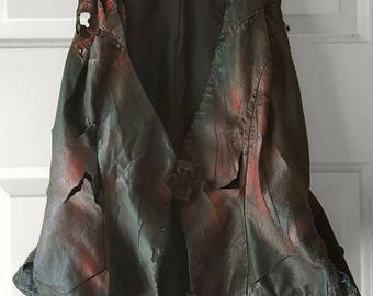 Hand Painted Zombie Leather Biker Chick Costume Size 6 Vest OOAK