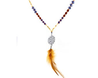 Glass beads-necklace, lilac and beige with natural feather in Boho style