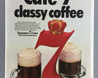 """1979 Seagram's 7 Crown Whiskey Print Ad - """"Cafe 7 classy coffee""""  - Vintage Alcohol Ad"""