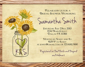 Sunflowers Bridal Shower Invitation,Rustic Sunflowers,Vintage Mason Jar Invitation,Gray, Brown, Mason Jar, Sunflower, Wedding Shower, 5145