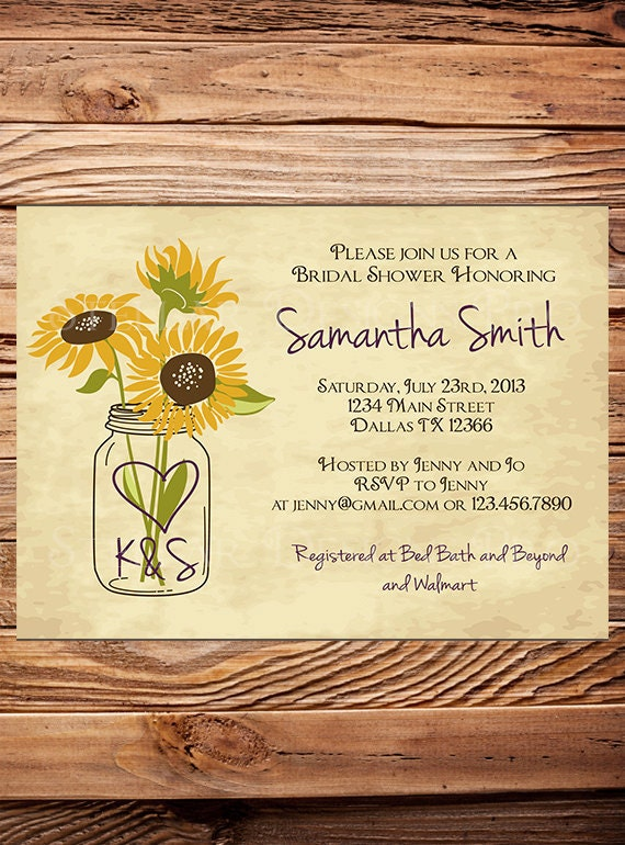 Sunflowers bridal shower invitationrustic sunflowersvintage zoom filmwisefo