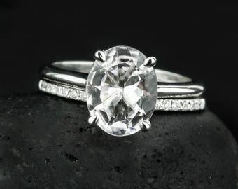 White Gold White Topaz Engagement Ring - Oval White Topaz - Half Eternity Diamond Band