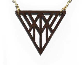 Geometric Triangle Laser Cut Wooden Necklace 1