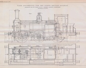 1879 Large Antique Engineering Drawing - Tank Locomotive for the North British Railway - 2-page Technical Illustration - Blueprint