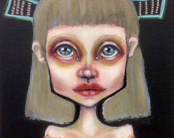 Original, figurative, painting, art, urban, girl
