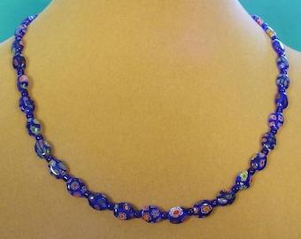 "18"" Cobalt Blue Milliflori Glass Necklace - N 345,347"
