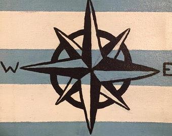 Nautical compass canvas painting. 8x10