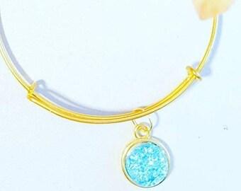 Sea blue colour bangle, faux druzy , small gold adjustable bangle, sparkle bracelet, glitter look bangle,blue stone, glittery,
