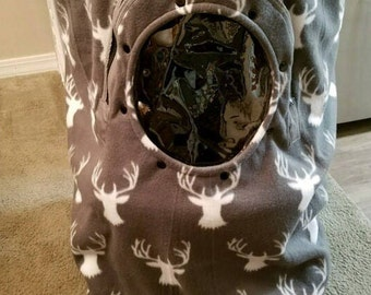 Stroller & Jogger Enclosure Gray Buck Baby Cozy Hand Made Fleece n Gray Minky Lining Infant Cover Custom Embroidery My Little Dear n Antlers