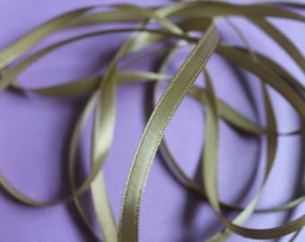 Ribbon by the yard khaki green satin ribbon