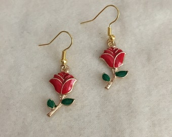 Red Rose Earrings in Gold