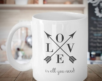 Gift for Her, Love Quote Coffee Mug, Cute Mugs, LOVE is All YOU NEED, Cute Office Decor, Mom Mug, Inspirational, Engagement, Wedding Gift