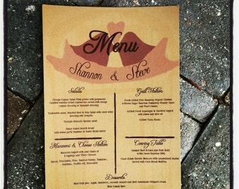 Barn Wedding Menu, Wedding menu, country wedding, outdoor wedding