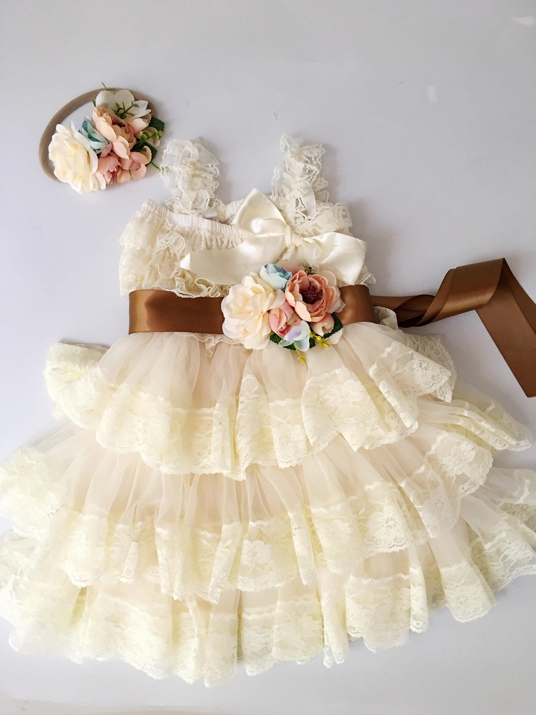 45off SALE Extra Full Flower Girl Lace Dress Baby Doll Bridesmaid