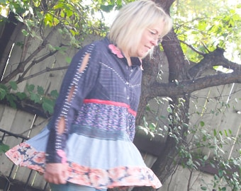 upcycled top M - L upcycled fashion, sustainable fashion, long sleeved tunic . ramblin' rose