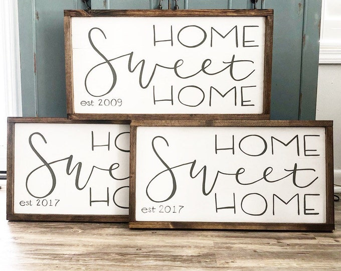 Hand Painted Hand Lettered Framed Wooden Sign Home Sweet Home Established Date