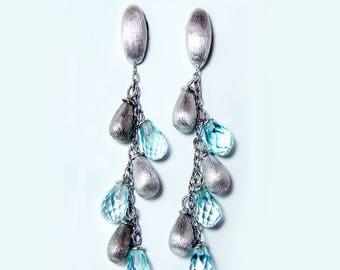 Vintage 14K White Gold Dangling Earrings Briolette Topaz Signed Designer Italy