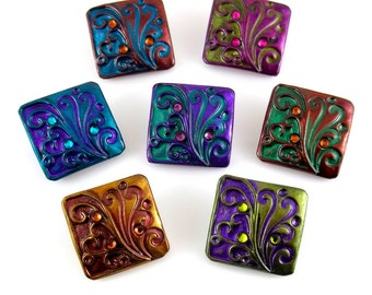 Flourish Square Interchangeable Snap Button Charm in Choice of Color
