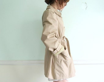 APRIL IN PARIS Taupe BELTED Button Down TRENCH Coat M\/L