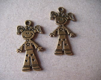x 2 pendants girl child braided bronze 28 x 16 mm