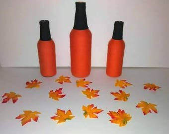 Handcrafted Halloween Pumpkin Bottle Trio
