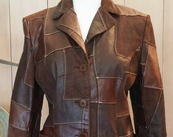 Free Shipping! St. John Sport by Marie Gray Brown Leather and Suede Jacket - Size M