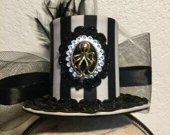 Steampunk Striped Mini Top Hat Fascinator