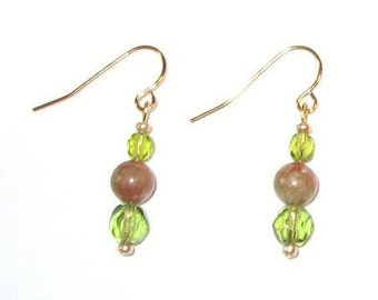 Pretty Olivine Glass and Autumn Jasper Beaded Earrings