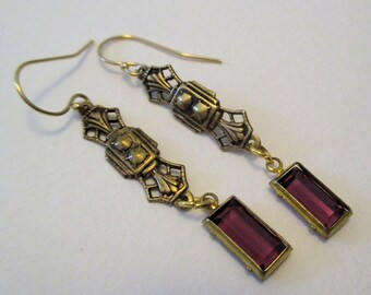 Amethyst Purple Victorian Earrings - Brass Dangle - Vintage Glass Bead - Downton Abbey Inspired