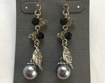 Rhinestone- Faux Silver Pearl Dangle Earrings - Dressy Earrings - Silver and  Black Long Earrings - Costume Jewelry