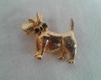 Scottie Dog Pin, Scottie Terrier Jewelry Scottie with Bow Gold Tone Pin 1.5 Inches Long Pet Jewelry Dog Lovers Dog Jewelry Vintage Dog Pin