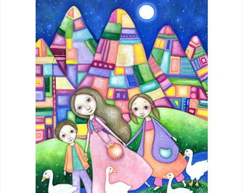 Goose A3 Art Print Family Mother and Two Children Art wall Art for Kids Geese Painting Abstract Mountains Colorful Colourful Lindy Longhurst